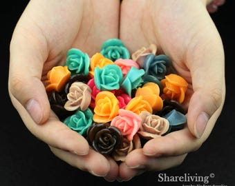 Clearance Sale -  Lots of 100pcs Mixed Color 3D Resin Flower Cabochons Charms  -- CLS004D