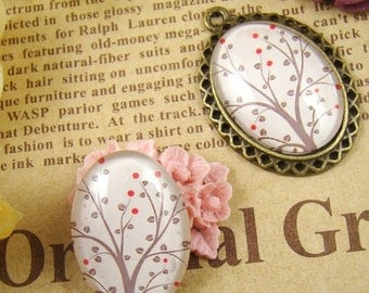 SALE - 30% OFF 4pcs 18x25mm Handmade Photo Glass Cabochons - Tree Collection BCH808B