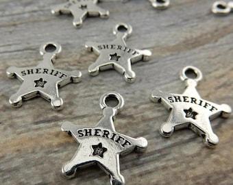 Summer Flash Sale Sheriffs Badge Charms, Tierracast, Antique Silver, Deputy, Police Badge Western Charm Drop Pendants, Tierra Cast, Southwes