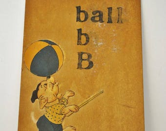 Vintage Teachers Hand Made Flash Cards  B is for Ball     Letter B     Hand Made Flash Card