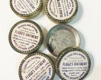 Ointment Tins From 1930 Unique Vintage Metal  Flood's Ointment Tin  from Beggs, Oklahoma Vintage Goldtone Tin with original label Sample Tin