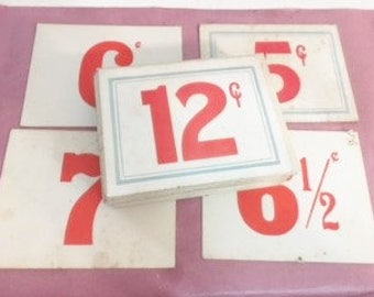 Vintage Grocery Store Pricing Tags  Red and White Shelf Pricing Tags from 1950s   15 in Purchase