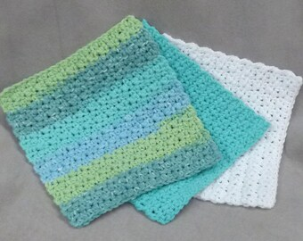 Dish cloths Wash cloths 100% cotton - teals