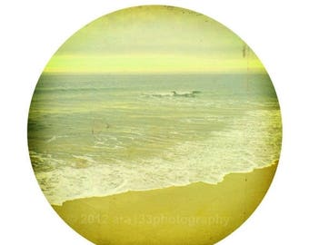 50% OFF SALE Beach Photograph, Ocean Photo, Nautical, Landscape Picture, Nature, Yellow, Circular Image on an 8x10 inch Print -Held in Our H