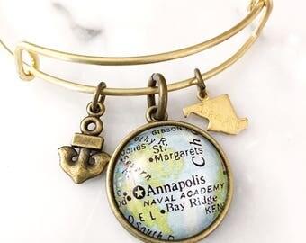 US Naval Academy Annapolis Map Charm Bangle Bracelet - Personalized Map Jewelry - Bangle - Navy - Student - Graduate - Maryland - Navy Mom