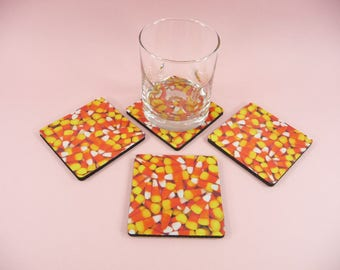 CANDY CORN COASTERS Set of 4 Fall Halloween Harvest Autumn Thanksgiving Decor Desk Table Gift Giving Beautiful Square Fabric Neoprene