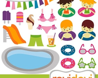 50% OFF SALE Pool party clipart / Summer Pool Party Clipart.. Commercial use digital graphic clip art / digital images