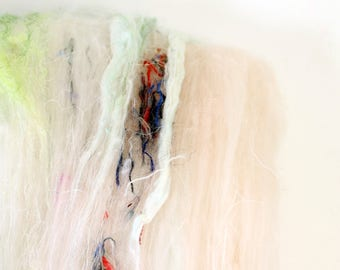 falling sands  .. art yarn batt, wool yarn batt, weaving creative yarn bundle, handspinner, hand dyed merino wool, hand spinning
