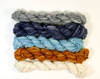 maritime  ... handspun yarn set, weaving creative yarn bundle, hand spun, hand dyed yarn, handspun art yarn