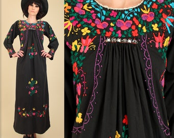 ViNtAgE 60's 70's Floral Oaxacan Mexican Embroidered Longsleeve Maxi Dress / Cotton Handmade Artisan Hippie BoHo Wedding Summer