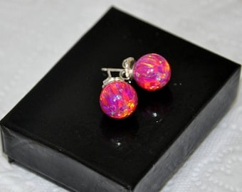 ON SALE- Red Purple Magenta  Earrings,  Opal Earrings, 10mm Ball Stud Earrings,  Silver Earrings,  Australian Opal, 925  Sterling Silver