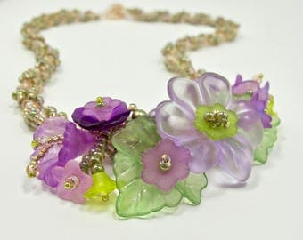 Lucite Flower Necklace, Purple Pansies Necklace, Vintage Style Flower Necklace, Boho Necklace, Handmade Necklace, Statement Necklace