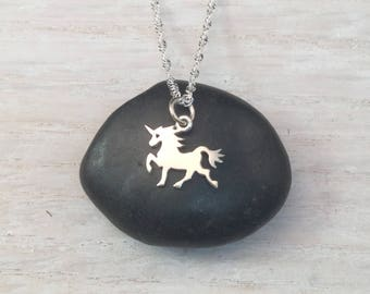 Tiny Unicorn Pendant, Sterling Silver Necklace, fun gift