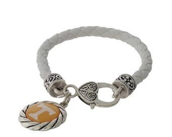 University of Tennessee Faux Leather Logo Charm Bracelet, White/Silvertone