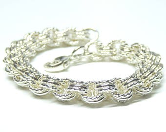 Sterling silver chain bracelet,925 sterling silver chainmail bracelet,chain link bracelet,sterling silver 3in3 chain bracelet,chain jewelry