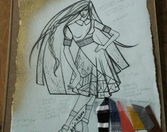 Fashion Sketch w/ Fabric Clippings, Exclusive Design by Project Runway Designer, Fashion Illustration, Wall Art Print, Home Decor