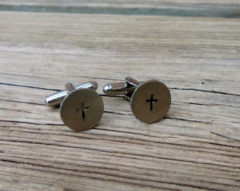 Tiny Cross Cuff Links, Gift Idea For Him, Anniversary Gift Idea, Hand Stamped