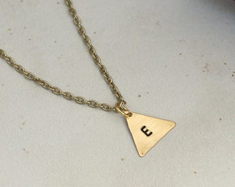 Stamped Initial Necklace, Bridesmaid Necklace, Gold Triangle Necklace, Bridesmaid Jewelry