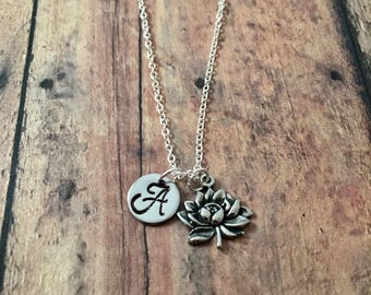 Lotus flower initial necklace - lotus flower jewelry, nature jewelry, sacred lotus necklace, lotus flower initial necklace, zen jewelry