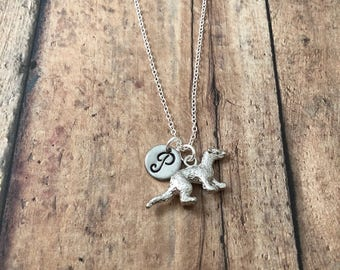 Weasel initial necklace - weasel jewelry, pine marten necklace, woodland necklace, stoat necklace, silver weasel initial necklace