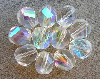 LAST 9 Czech Glass Beads SPIRALING Crystal Clear AB 10mm