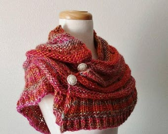 First Fall Sale - 15% Off Hand Knit Summer Sunset Accordion Shawl - Shawl/Capelet with Removable Buttons - Hand Knit Original Design Rose, O