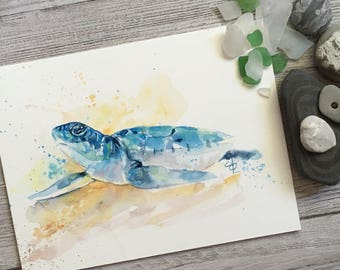 Baby blue sea turtle Watercolor painting