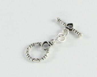 SHOP SALE Sterling Silver Toggle Clasp with Heart Design Antiqued Round Bali .925 Sterling Silver Toggle Clasp (1 set)