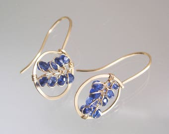 Tiny Blue Kyanite 14k Gold Filled Hoops, Gemstone Vines, Lightweight Earrings, Cobalt Blue, Wire Wrapped, Petite Circles, Original Design