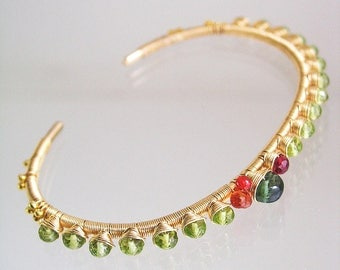 Peridot Gold Filled Cuff, Wire Wrapped Bracelet, Stackable Gemstone Cuff with Sapphire, Apatite, Spinel, August Birthstone