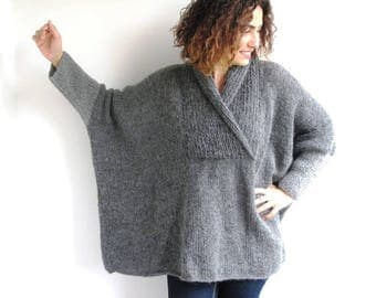50% CLEARENCE Plus Size Gray Hand Knitted Sweater - Tunic