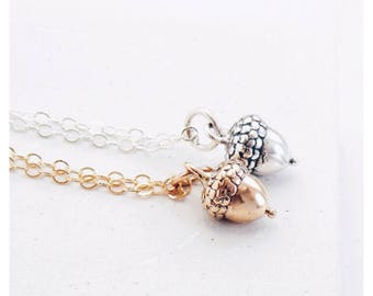 Acorn Necklace in Gold or Silver