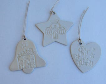 Set of 3 ceramic holiday ornament /gift tags