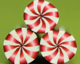 Set of 3 Polymer Clay Mini Peppermint Canes (44E)