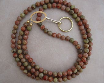 ID lanyard autumn jasper gold badge holder