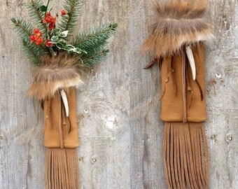 Leather Wall Pocket - Small - Axis Deer - Stocking - Leather Fringe - Rustic Home - Cabin - Ranch - Year Round Decor - Stacy Leigh Leather