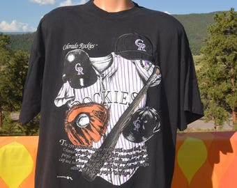 vintage 90s t-shirt colorado ROCKIES baseball mlb nutmeg black tee XL