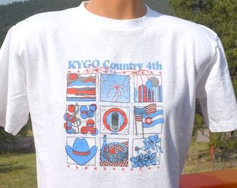 vintage 80s t-shirt KYGO COUNTRY music radio station july 4th picnic Medium Large