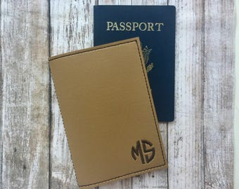Tan Brown Personalized Passport Cover - Passport Holder - Circle Monogram Passport Wallet - Faux leather Passport Cover - Monogram Passport