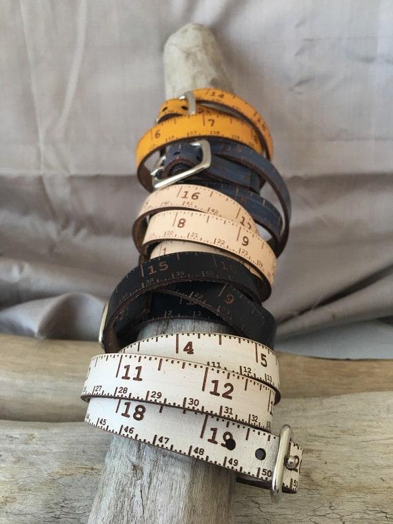 "Leather tape measure, Triple wrap skinny, tape measure accessory, sewing, knitting, crochet, woodwork, teacher, student, designer, 22"" total"