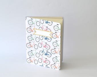 Bicycles Summertime Notebook, Colorful Bicycles Diary, Handbound Blank Journal, Softcover Notebook