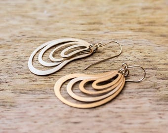 Golden Drops  Dangle Earrings, Gold Earrings, Oval Earrings, Modern Architectural Jewelry, Gift for her