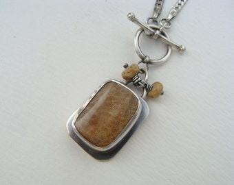 Natural Fossil Coral Sterling Silver Oxidized Toggle Necklace