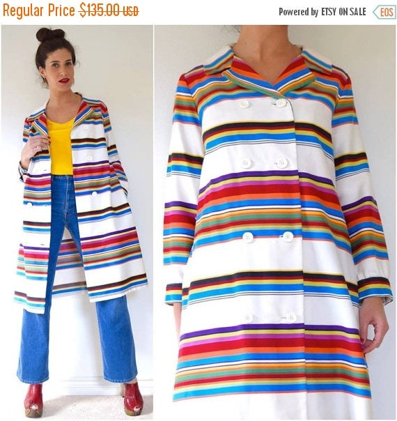 SUMMER SALE / 20% off Vintage 60s 70s Rainbow Striped Double Breasted Raincoat
