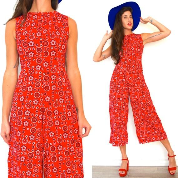 Vintage 60s 70s Red Paisley Bandana Print Cropped Palazzo Pant Jumpsuit (size xs, small)