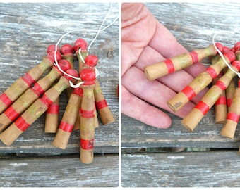 Antique French Doll miniature skittles set of 6 & ball