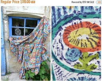 ON SALE Vintage 1950/50s Mid century Abstract  atomic printed cotton bedspread coverlet 120 inches x 63 inches + ruffles