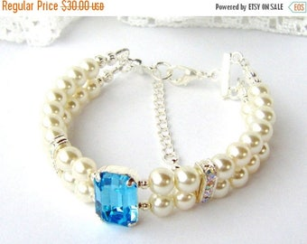 SALE Aquamarine rhinestone and ivory pearl double strand bracelet March birthday gift for her girlfriend Mother's day Aqua Something blue