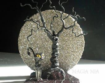 Full Moon Tree Cat Decoration, Silver & Black German Glass Glitter, Black Cat