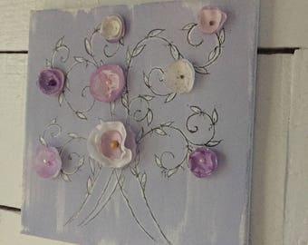Wall hanging, home decor, housewarming gift, purple art, signed, french, wall decor, bedroom decor, original design, FREE SHIPPING